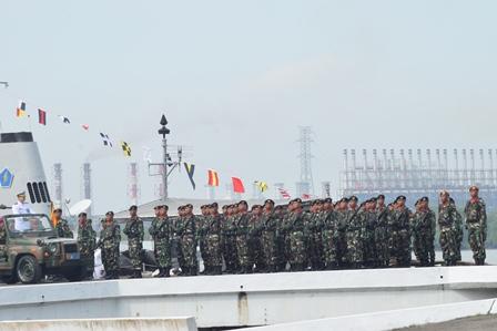 Prajurit Yonkav 6/NK Ramaikan Lantamal I Belawan Pada HUT Ke 72 TNI