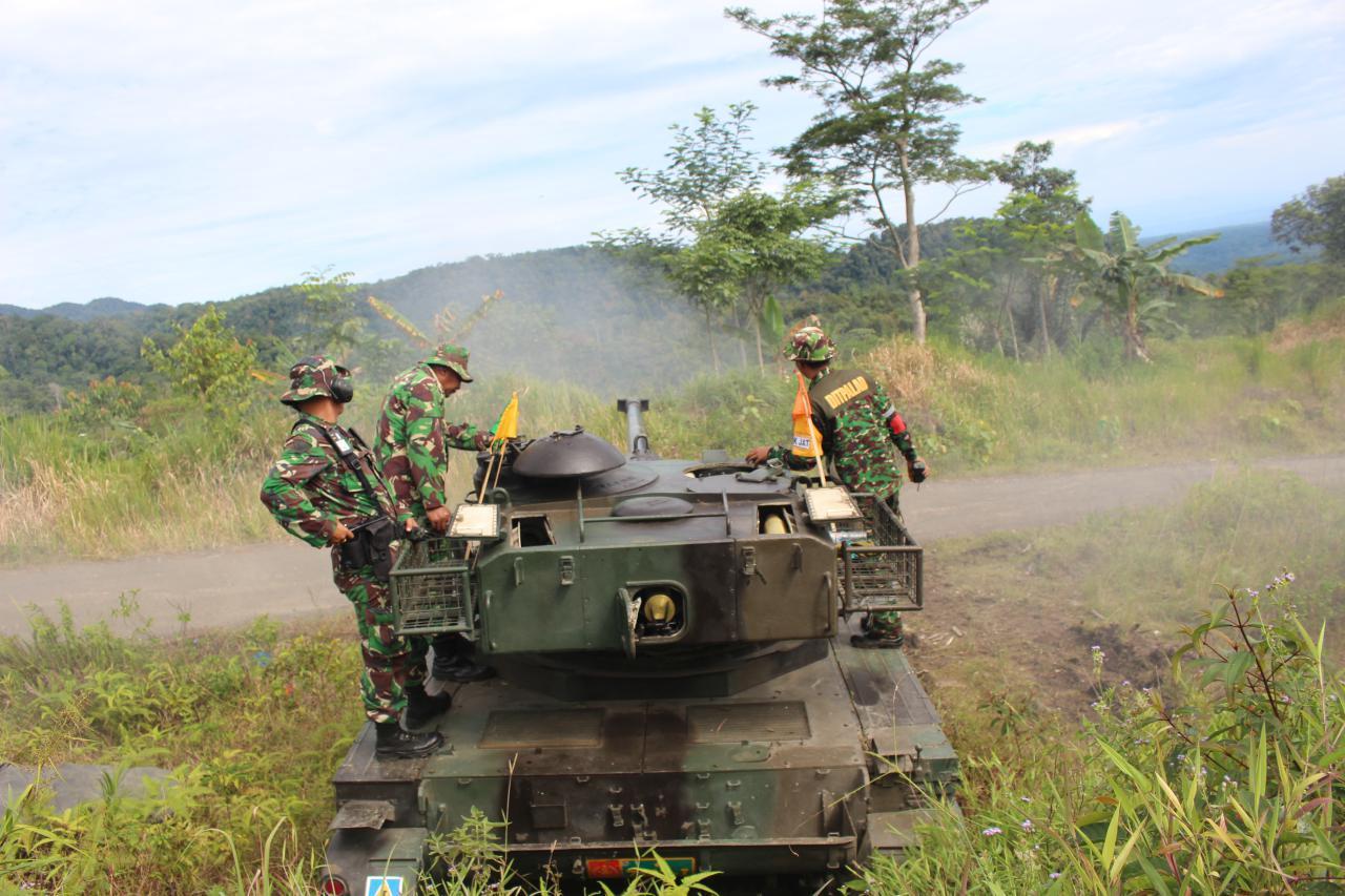 Yonkav 6/NK Gelar Latihan Menembak Senjata Kendaraan Tempur